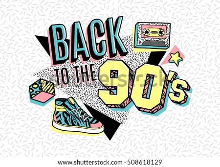Memphis poster, card or invitation with geometric elements, sneakers and tape cassette. Back to the 90's. Vector illustration in trendy 80s-90s memphis style. ストックフォト ©