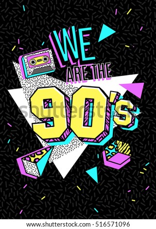 Memphis poster, card or invitation with geometric elements, sneakers and tape cassette. We are the 90s. Vector illustration in trendy 80s-90s memphis style.