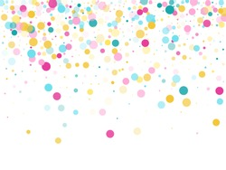 Memphis round confetti airy background in cyan, pink and gold on white.  Childish pattern vector, children's party birthday celebration background.  Holiday confetti circles in memphis style.