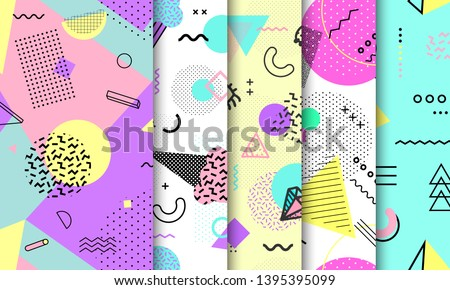 Memphis seamless pattern collection. Geometric seamless pattern different shapes fashion 80's-90's style. Set of pastel Memphis background. Abstract vector illustration in minimal design. Foto stock ©