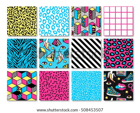 memphis seamless patterns with