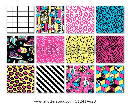 Memphis seamless patterns with geometric, grid, striped and other elements for fashion, wallpapers, wrapping, etc. Background set in trendy 80s-90s memphis style with neon colors.