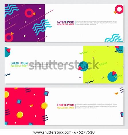 memphis style banner design set ...