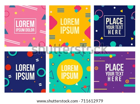 Memphis style cards. Collection of templates in trendy fashion 80-90s. Perfect for ad, greeting cards, presentation, cover design and more. Vector.
