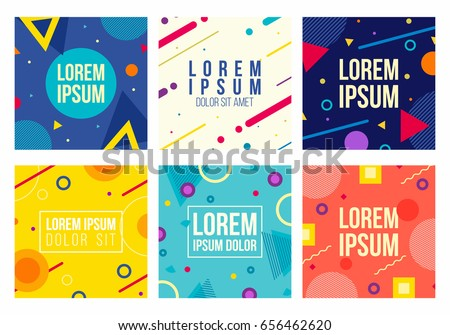 Memphis style 6 cards. Collection of templates with geometric shapes, patterns in trendy fashion 80-90s. Can be used for ad, invitation, presentation and more. Isolated. Vector.