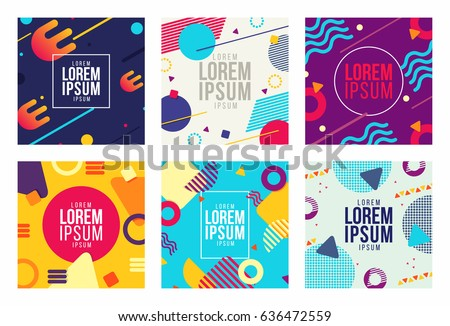 Shutterstock Memphis style cards Design Collection of Colorful templates with geometric shapes, patterns with trendy Memphis fashion 80s-90s. Perfect for ad, invitation, presentation Isolated Vector illustration