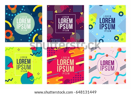 Memphis style cards Design Collection of Colorful templates with geometric shapes, patterns with trendy Memphis fashion 80's-90's. Ideal for ad, invitation, presentation Isolated Vector illustration