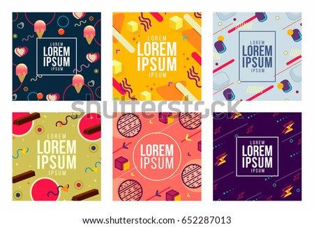 Memphis style cards Design Collection Set of Colorful templates with geometric shapes, patterns with trendy Hipster fashion 80s-90s. Perfect for ad,invitation,presentation Isolated Vector illustration