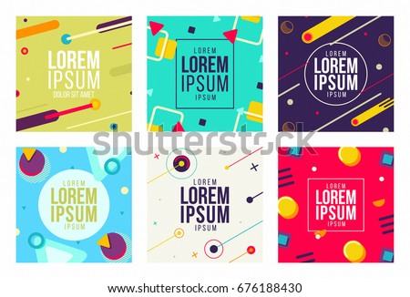Memphis style cards New Design Collection of Colorful templates with geometric shapes, patterns hipster trendy fashion 80s-90s. Perfect for ad, invitation, presentation Isolated Vector illustration