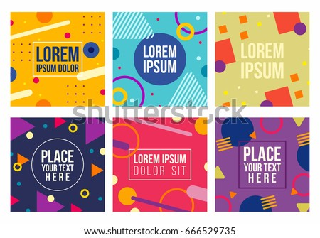 Memphis style cards with geometric shapes and patterns. Collection of templates in trendy fashion 80-90s. Isolated. Vector.