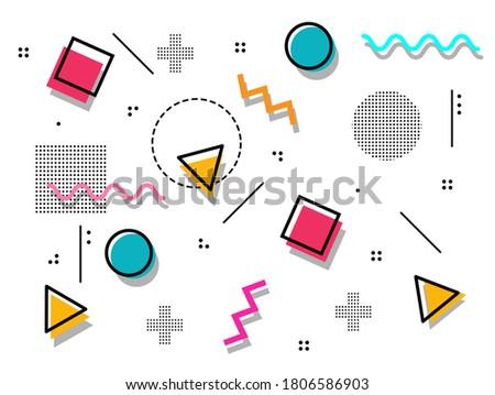 Memphis style geometric background playful design, abstract geometric background design template graphics, colorful geometric shape pattern Stock photo ©