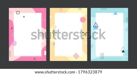 Memphis style template collection. Set of abstract creative concept background for advertising with copy space for text. Modern cute graphic design illustration.