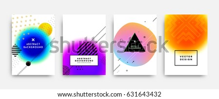 Memphis style vector cover templates set with colorful baubles, geometric elements and patterns for flyers, banners, placards and title pages.