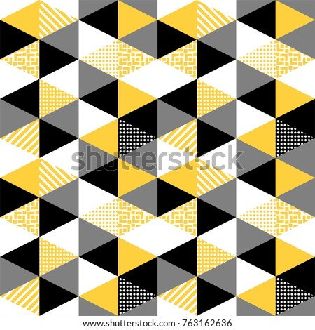 Memphis trendy seamless pattern with geometric shapes in yellow and black. Abstract 1980-90 styles. Geometric hipster poster textile background. Vector illustration stock vector.