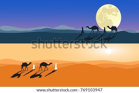 men and camels do across desert