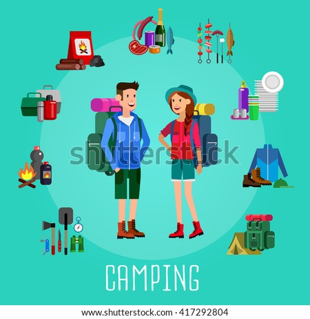 men and woman character camping