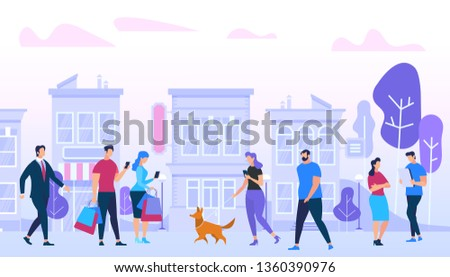 Men and Woman Walking, Meeting Friends, Communicating, Using Gadgets, Walk with Dogs, Talking, Relaxing on Urban Buildings Background. Active People Lifestyle in City. Cartoon Flat Vector Illustration stock photo
