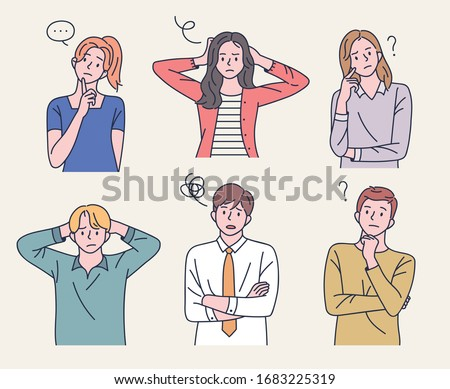 Men and women are taking quizzes and thinking or making difficult expressions. flat design style minimal vector illustration. Stock photo ©