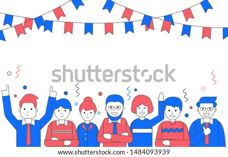 Men and women congratulating viewer. People group congratulation in linear style. Copy space for your text. Minimal vector illustration. Isolated