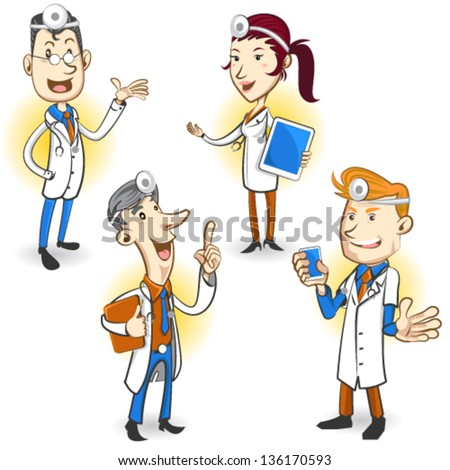Men And Women Doctor Character Holding Smartphone, Digital Tablet And Ring Binder, Explaining Medical Procedure