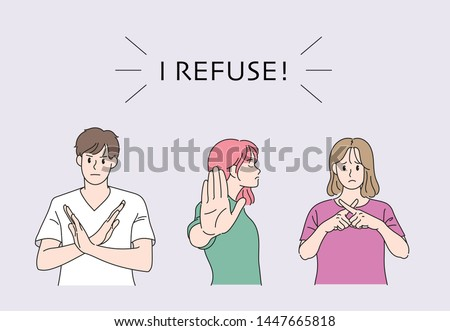 Men and women doing a negative gesture. hand drawn style vector design illustrations.