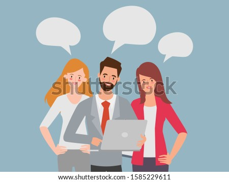 Men and women dressed in business clothes discussing ideas. Brainstorm or group discussion. Cartoon vector illustration in flat style.