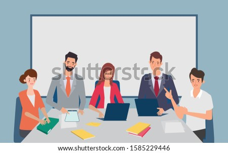 Men and women dressed in business clothes sitting at table and discussing ideas. Brainstorm or group discussion. Cartoon vector illustration in flat style.