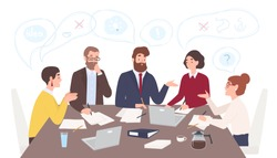 Men and women dressed in business clothes sitting at table and discussing ideas, exchanging information, solving problems. Brainstorm or group discussion. Cartoon vector illustration in flat style