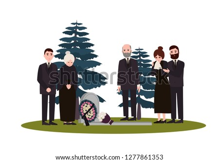 Men and women dressed in mourning clothes standing near grave with tombstone and wreath. Grieving people or family on graveyard or cemetery. Colorful vector illustration in flat cartoon style.