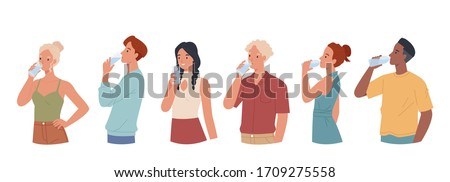 Men and women  drinking water from plastic bottles and glasses set. Vector illustration in a flat style