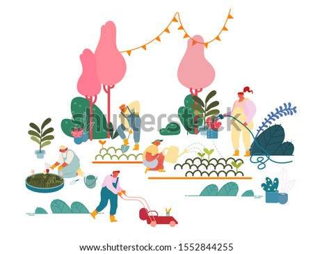 Men and Women Farmers or Gardeners Planting and Caring of Trees and Plants. Happy Characters Working in Summer Garden Watering, Digging Soil Care of Flowers, Gardening Cartoon Flat Vector Illustration