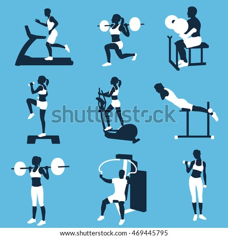 men and women  fitness silhouettes. fitness  exercises concept.
