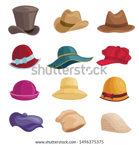 Men and women hats flat vector illustrations set. Unisex vintage elegant headwear isolated cliparts pack on white background. Male and female modern and retro caps. Beret, beach hat design elements