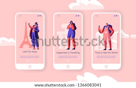 Men and Women Having Foreign Chipper Trip Concept for Website or Web Page. People Touristic Voyage Abroad with Guide Onboard Screen Set, Happy Traveling Characters. Cartoon Flat Vector Illustration