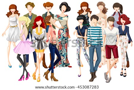 men and women in fashionable