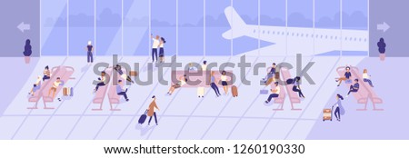 Men and women inside airport terminal building with large panoramic windows and airplanes seen through them. Passengers sitting on benches in waiting hall or area. Flat cartoon vector illustration.