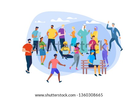 Men and Women of Different Ages, Religious and Culture Isolated on White Background. Multiracial and International People Characters Communicating, Using Gadgets. Cartoon Flat Vector Illustration.