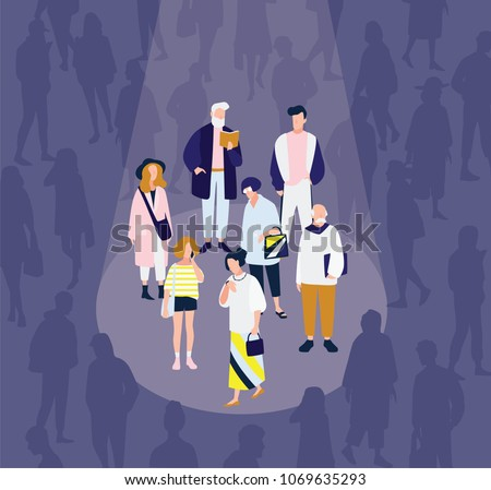 Men and women of various age illuminated by bright spot light against crowd of people in darkness on background. Concept of diverse focus group. Colorful vector illustration in flat cartoon style.