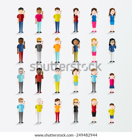 Men and Women People Using Mobile Phone Vector Illustration