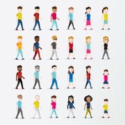 Men and Women People Walking Icon Vector Illustration