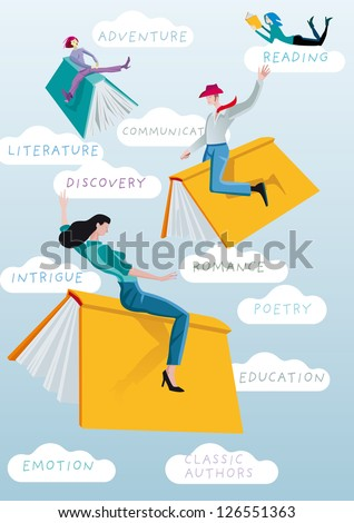 Men and women riding books like bulls in a Wild West rodeo. Metaphor of the exciting adventure of reading and learning. Behind them, a few words in the clouds, about the world of literature