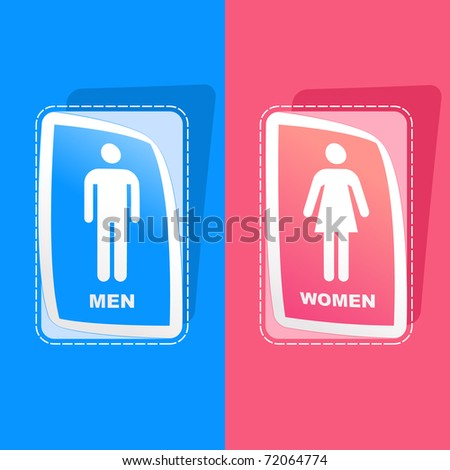 Men and women sign. Graphic elements set.