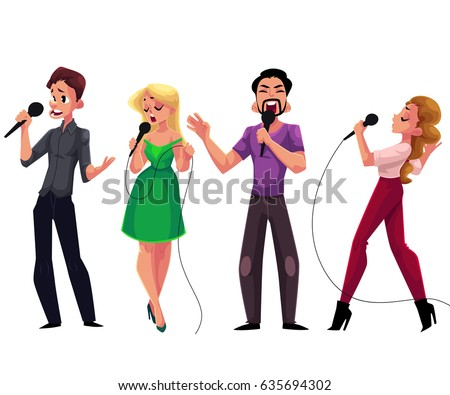 men and women singing karaoke