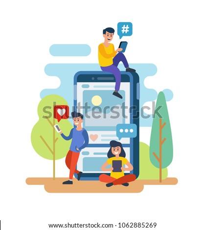 Men and women standing with smartphone outdoor. Flat vector