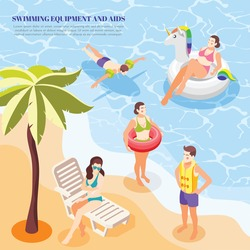 Men and women swimming in sea with different aids arm band ring vest isometric background 3d vector illustration