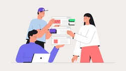 Men and women taking part in business meeting, generate ideas and testing app. Business brainstorming, UI UX design concept of creating an application. Flat ctyle vector illustration.