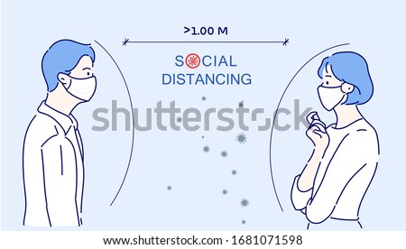 Men and women talk with each other at approximately 1 meter distance. Social distancing, keep distance in public society people to protect from COVID-19.The idea of ​​stopping the spread of the virus