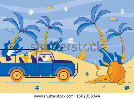 Men and Women Tourists Driving Car on Safari in Africa, Traveling and Watching Wildlife in Savanna, Making Pictures on Phone and Photo Camera of Beautiful Lion. Cartoon Flat Vector Illustration.