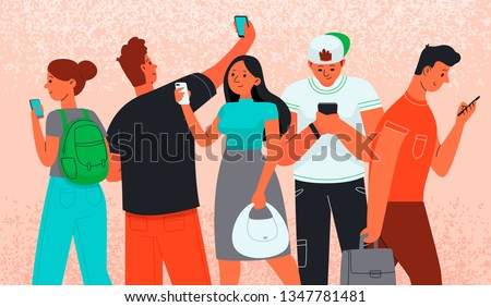 Men and women use smartphones to communicate. Internet addiction. Phone as a source of information. People and gadgets. Vector illustration in flat style