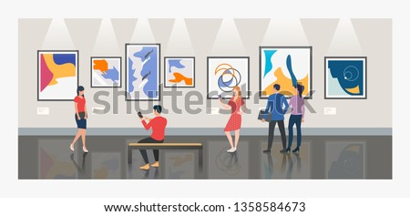 Men and women visiting museum or art gallery vector illustration. Modern art, exhibition, culture. Artworks concept. Design for website templates, posters, banners